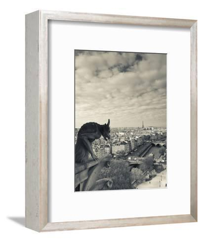 France, Paris, View from the Cathedrale Notre Dame Cathedral with Gargoyles-Walter Bibikow-Framed Art Print