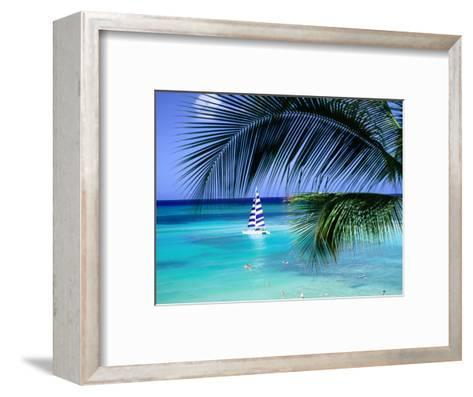 Palm Tree, Swimmers and a Boat at the Beach, Waikiki, U.S.A.-Ann Cecil-Framed Art Print