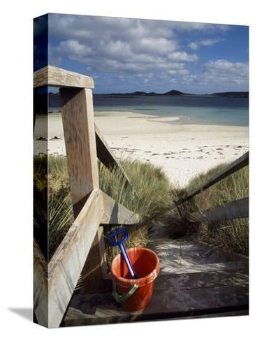 Bucket and Spade on the Steps Leading to the Beach Near Blockhouse Point, Tresco-Fergus Kennedy-Stretched Canvas Print
