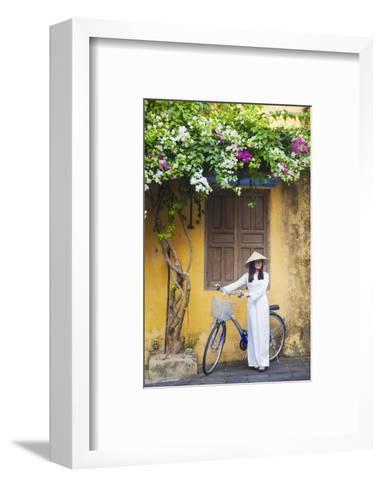 Woman Wearing Ao Dai Dress with Bicycle, Hoi An, Quang Ham, Vietnam-Ian Trower-Framed Art Print