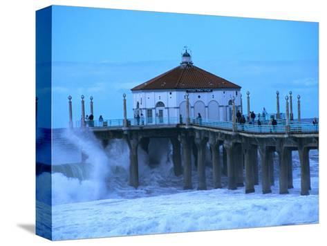 Waves Breaking into the Pier at Manhattan Beach-Christina Lease-Stretched Canvas Print
