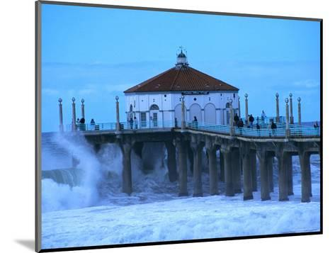 Waves Breaking into the Pier at Manhattan Beach-Christina Lease-Mounted Photographic Print