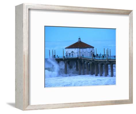 Waves Breaking into the Pier at Manhattan Beach-Christina Lease-Framed Art Print