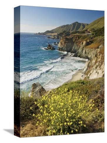 Cliffs Along Big Sur Coastline, Near Rocky Creek Bridge on Highway One-Witold Skrypczak-Stretched Canvas Print