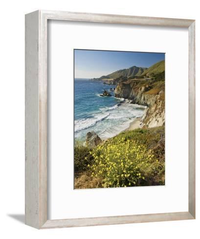 Cliffs Along Big Sur Coastline, Near Rocky Creek Bridge on Highway One-Witold Skrypczak-Framed Art Print