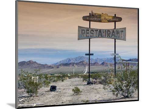 Old Restaurant Sign at Route 66 Near Chambless with Marble Mountains in Distance-Witold Skrypczak-Mounted Photographic Print