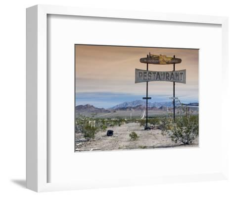 Old Restaurant Sign at Route 66 Near Chambless with Marble Mountains in Distance-Witold Skrypczak-Framed Art Print