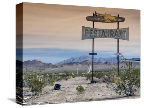 Old Restaurant Sign at Route 66 Near Chambless with Marble Mountains in Distance-Witold Skrypczak-Stretched Canvas Print