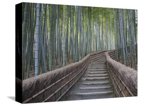 Stairway Through Bamboo Grove Above Adashino Nembutsu-Ji Temple-Brent Winebrenner-Stretched Canvas Print