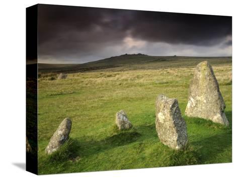 Merrivale Stone Row, Stormy Evening, Dartmoor Np, Devon, Uk. September 2008-Ross Hoddinott-Stretched Canvas Print