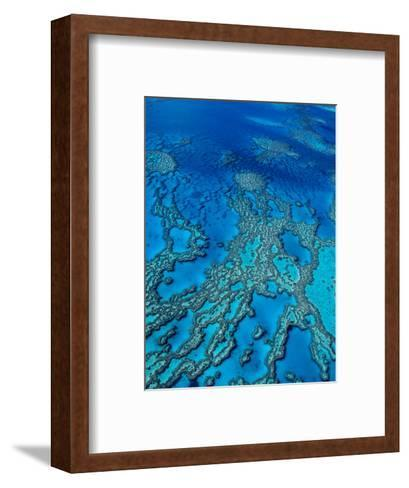Aerial of Hardy Reef Offshore from Whitsundays Islands-Philip Game-Framed Art Print