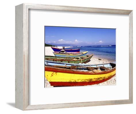 Fishing Boats on Beach-Greg Johnston-Framed Art Print