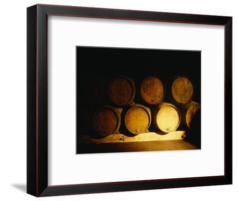 Barrels in a Cellar, Chateau Pavie, St. Emilion, Bordeaux, France--Framed Art Print