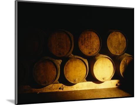 Barrels in a Cellar, Chateau Pavie, St. Emilion, Bordeaux, France--Mounted Photographic Print