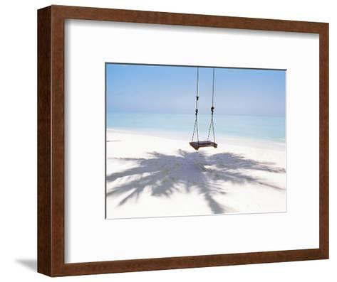 Beach Swing And Shadow of Palm Tree on Sand--Framed Art Print