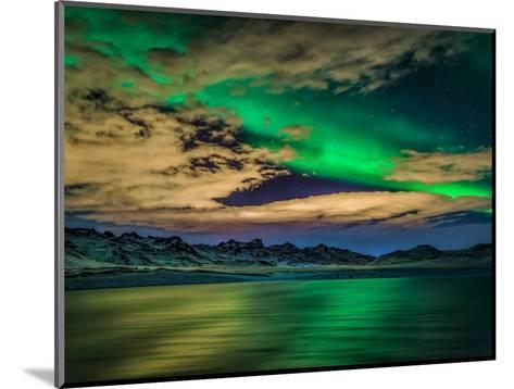 Cloudy Evening with Aurora Borealis or Northern Lights, Kleifarvatn, Iceland--Mounted Photographic Print