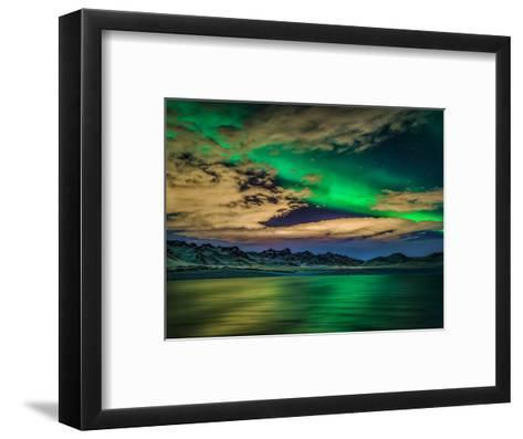 Cloudy Evening with Aurora Borealis or Northern Lights, Kleifarvatn, Iceland--Framed Art Print
