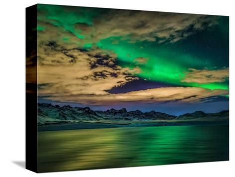 Cloudy Evening with Aurora Borealis or Northern Lights, Kleifarvatn, Iceland--Stretched Canvas Print