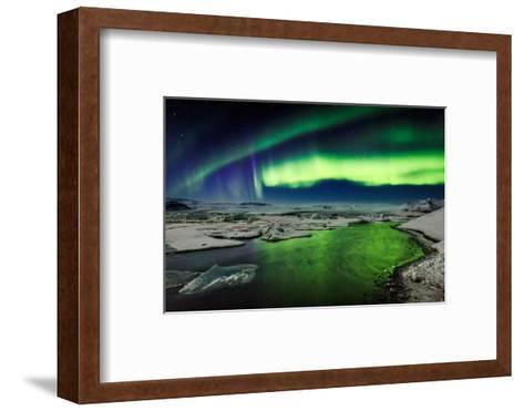 Auroras and Icebergs at the Glacial Lagoon, Jokulsarlon, Breidamerkurjokull, Vatnajokull Ice Cap--Framed Art Print