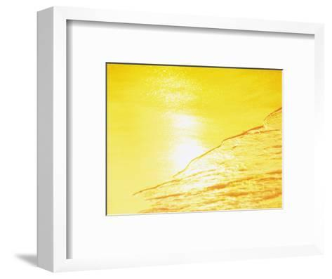 Sea Waves in Yellow with Sunlight--Framed Art Print