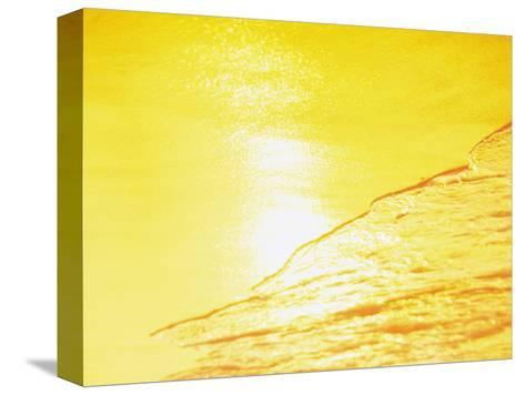 Sea Waves in Yellow with Sunlight--Stretched Canvas Print