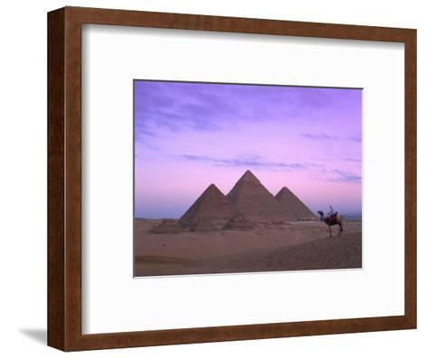 Camel Rider at Giza Pyramids, Giza, UNESCO World Heritage Site, Cairo, Egypt, North Africa, Africa-Nigel Francis-Framed Art Print