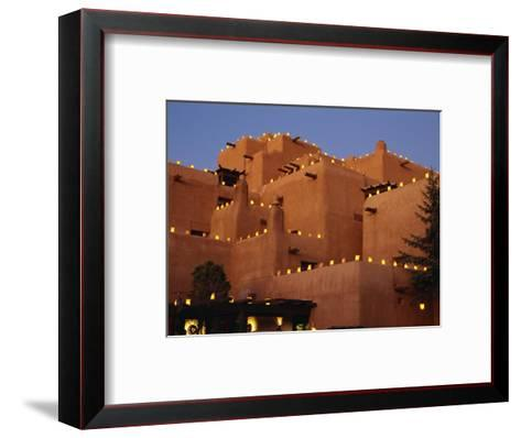 Farolitos at Loretto During the Christmas Season, at Santa Fe, New Mexico, USA-Westwater Nedra-Framed Art Print