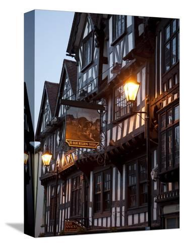 Ye Old Bullring Tavern Public House Dating from 14th Century, at Night, Ludlow, Shropshire, England-Nick Servian-Stretched Canvas Print