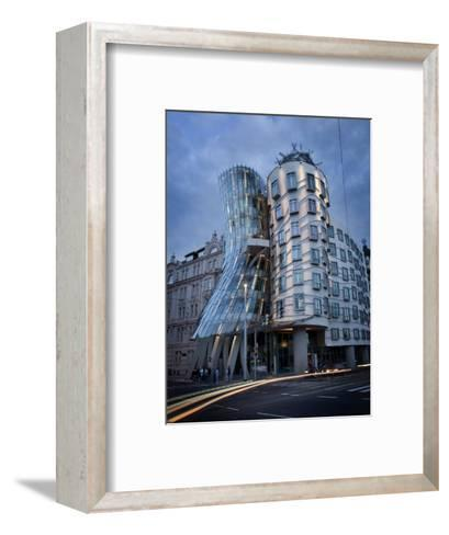Dancing House (Fred and Ginger Building), by Frank Gehry, at Dusk, Prague, Czech Republic-Nick Servian-Framed Art Print