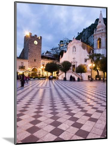 Piazza Ix Aprile, with the Torre Dell Orologio and San Giuseppe Church, Taormina, Sicily, Italy-Martin Child-Mounted Photographic Print