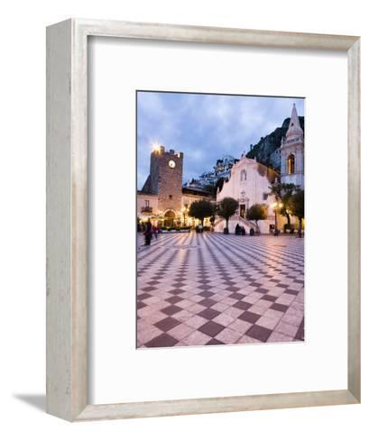 Piazza Ix Aprile, with the Torre Dell Orologio and San Giuseppe Church, Taormina, Sicily, Italy-Martin Child-Framed Art Print