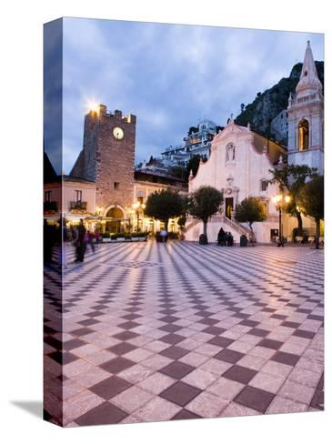 Piazza Ix Aprile, with the Torre Dell Orologio and San Giuseppe Church, Taormina, Sicily, Italy-Martin Child-Stretched Canvas Print