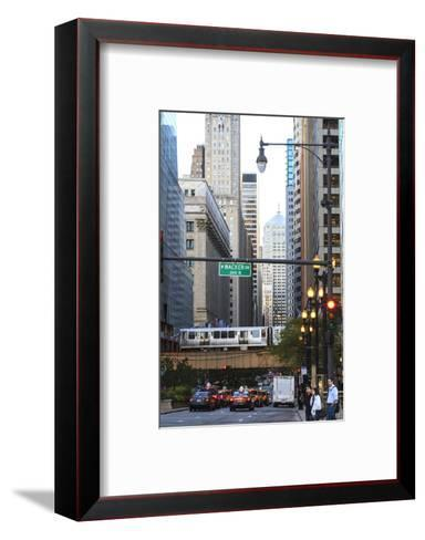 L Train on Elevated Track Crosses South Lasalle Street in the Loop District, Chicago, Illinois, USA-Amanda Hall-Framed Art Print