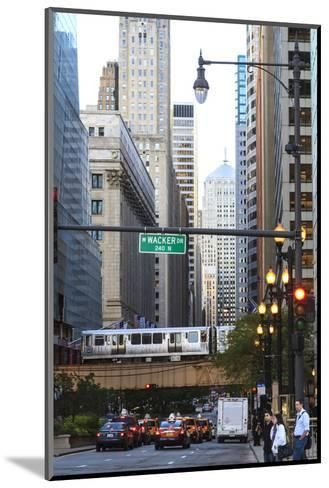 L Train on Elevated Track Crosses South Lasalle Street in the Loop District, Chicago, Illinois, USA-Amanda Hall-Mounted Photographic Print