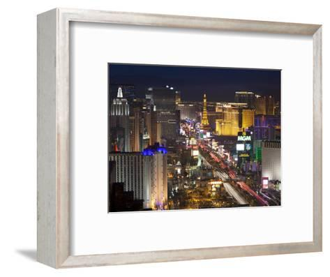 Elevated View of the Hotels and Casinos Along the Strip at Dusk, Las Vegas, Nevada, USA-Gavin Hellier-Framed Art Print