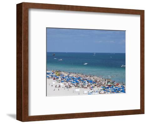 Crowded Beach, South Beach, Miami Beach, Florida, United States of America, North America-Angelo Cavalli-Framed Art Print