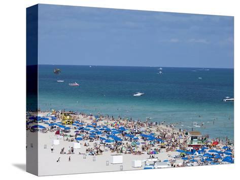 Crowded Beach, South Beach, Miami Beach, Florida, United States of America, North America-Angelo Cavalli-Stretched Canvas Print