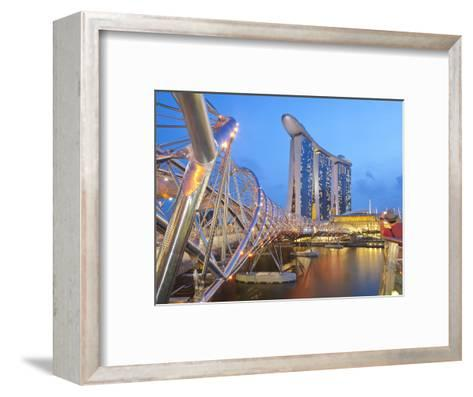 The Helix Bridge and Marina Bay Sands, Marina Bay, Singapore, Southeast Asia, Asia-Gavin Hellier-Framed Art Print
