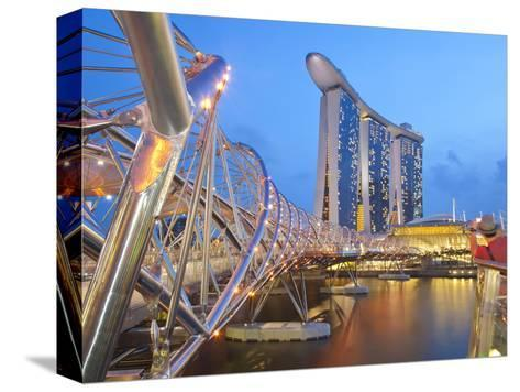 The Helix Bridge and Marina Bay Sands, Marina Bay, Singapore, Southeast Asia, Asia-Gavin Hellier-Stretched Canvas Print