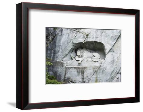 Lion Monument by Lucas Ahorn for Swiss Soldiers Who Died in the French Revolution-Christian Kober-Framed Art Print