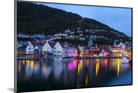Bergen's Picturesque Bryggen District Illuminated at Dusk-Doug Pearson-Mounted Photographic Print