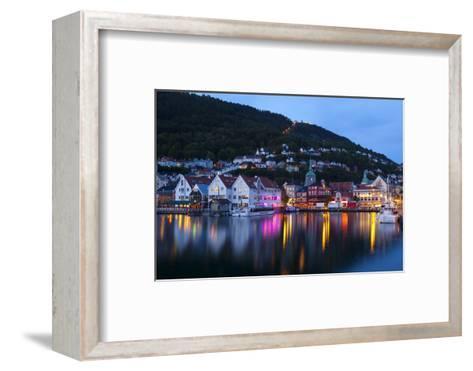 Bergen's Picturesque Bryggen District Illuminated at Dusk-Doug Pearson-Framed Art Print