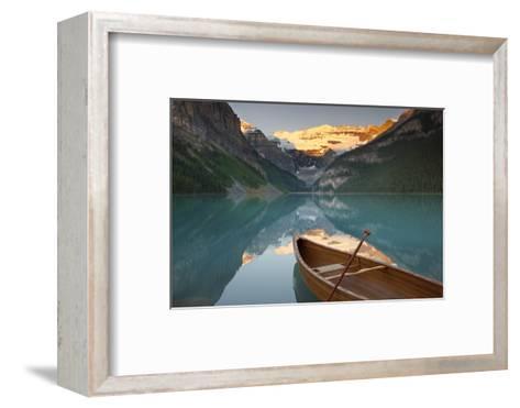 Canoe on Lake Louise at Sunrise-Miles Ertman-Framed Art Print