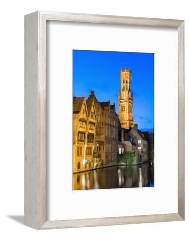 Belfry at Twilight, Historic Center of Bruges, UNESCO World Heritage Site, Belgium, Europe-G&M-Framed Art Print