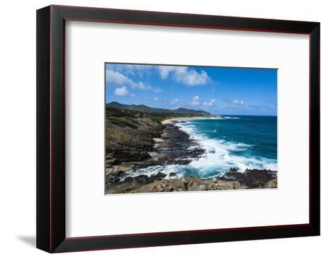 Lookout over Sandy Beach, Oahu, Hawaii, United States of America, Pacific-Michael-Framed Art Print
