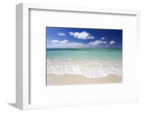 Idyllic Beach Scene with Blue Sky, Aquamarine Sea and Soft Sand, Ile Aux Cerfs-Lee Frost-Framed Art Print