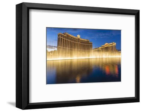 Bellagio and Caesars Palace Reflections at Dusk with Fountains, the Strip, Las Vegas, Nevada, Usa-Eleanor Scriven-Framed Art Print