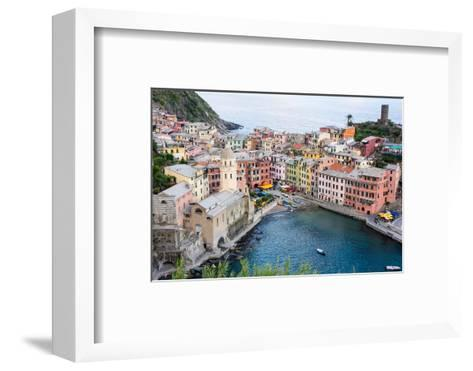 High Angle View of Vernazza, Cinque Terre, UNESCO World Heritage Site, Liguria, Italy, Europe-Peter Groenendijk-Framed Art Print