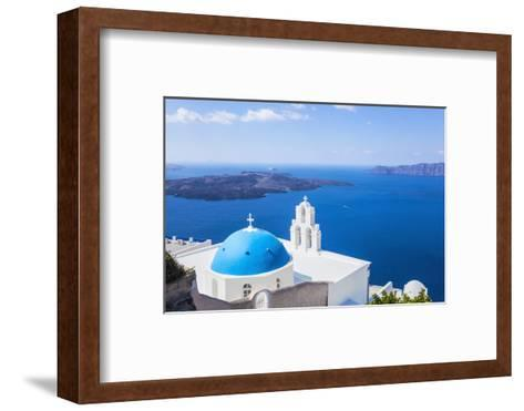 Blue Dome and Bell Tower Above Aegean Sea-Neale Clark-Framed Art Print