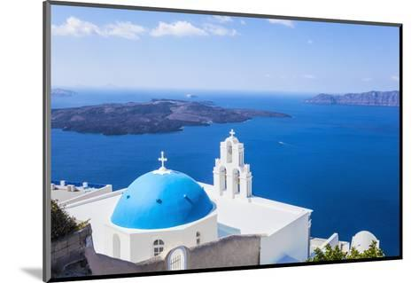 Blue Dome and Bell Tower Above Aegean Sea-Neale Clark-Mounted Photographic Print